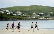 22 June 2019; Parkrun Ireland in partnership with Vhi, added a new parkrun at Narin Beach on Saturday 22nd June, with the introduction of the Narin parkrun on Narin Beach in Portnoo, Donegal. Parkruns take place over a 5km course weekly, are free to enter and are open to all ages and abilities, providing a fun and safe environment to enjoy exercise. To register for a parkrun near you visit www.parkrun.ie. Pictured is participants during the parkrun. Photo by Ramsey Cardy/Sportsfile