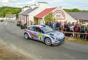 22 June 2019; Josh Moffet and Keith Moriarty in their Hyundai i20 R5 on SS 8  Glen during Day 2 of the 2019 Joule Donegal International Rally in Letterkenny, Donegal. Photo by Philip Fitzpatrick/Sportsfile
