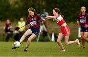 22 June 2019; Emer Fogarty of Westmeath in action against Sarah Casey  of Derry  during the Ladies Football All-Ireland U14 Bronze Final 2019 match between Derry and Westmeath at St Aidan's GAA Club in Templeport, Cavan. Photo by Ray McManus/Sportsfile
