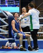 22 June 2019; Michael Nevin of Ireland with coaches John Conlan and Zaur Antia during his Men's Middleweight preliminary round bout against Mark Dickinson of Great Britain at Uruchie Sports Palace on Day 2 of the Minsk 2019 2nd European Games in Minsk, Belarus. Photo by Seb Daly/Sportsfile
