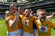 22 June 2019;  Leitrim players, from left, Thomas Glancy, David McGovern, Cathal O'Donovan and Pauric McWeeney celebrate after the Lory Meagher Cup Final match between Leitrim and Lancashire at Croke Park in Dublin.   Photo by Matt Browne/Sportsfile