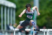 22 June 2019; Dara Casey of St Mary's CBS Enniscorthy, Co. Wexofrd, on his way to winning the Boys 100m Hurdles during the Irish Life Health Tailteann Inter-provincial Games at Santry in Dublin. Photo by Sam Barnes/Sportsfile