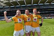 22 June 2019; Leitrim players from left Paul Earley, Cathal O'Donovan and Ben Murray celebrate after the Lory Meagher Cup Final match between Leitrim and Lancashire at Croke Park in Dublin.  Photo by Matt Browne/Sportsfile