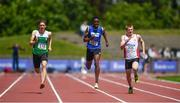 22 June 2019; Athletes, from left, Gavin Doran of CBC Monkstown, Co. Dublin, James Ezeonu Excel of Midelton College, Co. Cork, Rory Carson of Sullivan Upper Holywood, Co Wicklow, competing in the Boys 200m event during the Irish Life Health Tailteann Inter-provincial Games at Santry in Dublin. Photo by Sam Barnes/Sportsfile
