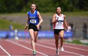 22 June 2019; Lauren McCourt of Bandon Grammar School, Co. Cork, and Katie Monteith of Sullivan Upper Holywood, Co. Wicklow, competing in the Girls 200m event during the Irish Life Health Tailteann Inter-provincial Games at Santry in Dublin. Photo by Sam Barnes/Sportsfile