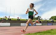 22 June 2019; Holly Brennan of Sacred Heart Drogheda, Co. Louth, on her way to winning the Girls 1500m event during the Irish Life Health Tailteann Inter-provincial Games at Santry in Dublin. Photo by Sam Barnes/Sportsfile