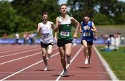 22 June 2019; Sean Donoghue of St Declan's CBS, Co. Dublin, centre, on his way to winning the Boys 1500m event during the Irish Life Health Tailteann Inter-provincial Games at Santry in Dublin. Photo by Sam Barnes/Sportsfile