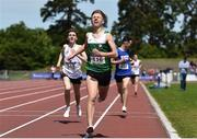 22 June 2019; Sean Donoghue of St Declan's CBS, Co. Dublin, reacts after winning the Boys 1500m event during the Irish Life Health Tailteann Inter-provincial Games at Santry in Dublin. Photo by Sam Barnes/Sportsfile