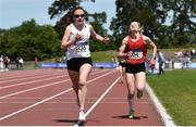 22 June 2019; Cara Laverty of Thornhill College, Co. Derry, left, and Joanne  Loftus of J&M Gortnor Abbey Co. Mayo, competing in the Girls 1500m event during the Irish Life Health Tailteann Inter-provincial Games at Santry in Dublin. Photo by Sam Barnes/Sportsfile