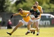 22 June 2019; Jimmy Hyland of Kildare in action against Niall Delargy of Antrim during the GAA Football All-Ireland Senior Championship Round 2 match between Antrim and Kildare at Corrigan Park in Belfast, Antrim. Photo by Ramsey Cardy/Sportsfile