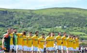 22 June 2019; The Antrim team during the National Anthem ahead of the GAA Football All-Ireland Senior Championship Round 2 match between Antrim and Kildare at Corrigan Park in Belfast, Antrim. Photo by Ramsey Cardy/Sportsfile