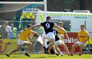 22 June 2019; Fergal Conway of Kildare shoots to score his side's first goal of the game during the GAA Football All-Ireland Senior Championship Round 2 match between Antrim and Kildare at Corrigan Park in Belfast, Antrim. Photo by Ramsey Cardy/Sportsfile