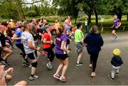 22 June 2019; Vhi ambassador and Olympian David Gillick was on hand to lead the warm up for parkrun participants before completing the 5km free event. Parkrunners enjoyed refreshments post event at the Vhi Rehydrate, Relax, Refuel and Reward areas. Parkrun in partnership with Vhi support local communities in organising free, weekly, timed 5k runs every Saturday at 9.30am. To register for a parkrun near you visit www.parkrun.ie. Pictured at the Templemore parkrun where Vhi hosted a special event to celebrate their partnership with parkrun Ireland are patricipants warming up with Vhi ambassador David Gillick. Photo by Diarmuid Greene/Sportsfile