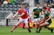 22 June 2019; Connor Corbett of Cork in action against Kieran O'Sullivan of Kerry during the Electric Ireland Munster GAA Football Minor Championship Final match between Cork and Kerry at Páirc Ui Chaoimh in Cork.  Photo by Brendan Moran/Sportsfile