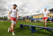 22 June 2019; Matthew Donnelly of Tyrone takes his seat alongside team-mates for the team picture ahead of the GAA Football All-Ireland Senior Championship Round 2 match between Longford and Tyrone at Glennon Brothers Pearse Park in Longford.  Photo by Eóin Noonan/Sportsfile