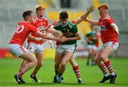 22 June 2019; Sean O'Brien of Kerry is tackled by Cork players, from left, Hugh Murphy, Patrick Campbell, Jack Cahalane and Ryan O'Donovan during the Electric Ireland Munster GAA Football Minor Championship Final match between Cork and Kerry at Páirc Ui Chaoimh in Cork.  Photo by Brendan Moran/Sportsfile