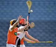22 June 2019; Tony O'Kelly Lynch of Sligo in action against Ciaran Clifford and Patrick Quinn of Armagh during the Nicky Rackard Cup Final match between Armagh and Sligo at Croke Park in Dublin.  Photo by Matt Browne/Sportsfile