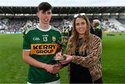 22 June 2019; Maeve Galvin, Sponsorship Programme Manager, Electric Ireland, presents Dylan Geaney of Kerry with the Player of the Match award for his major performance in the Electric Ireland GAA Munster Minor Football Championship Final. Throughout the Championships, fans can follow the conversation, vote for their player of the week, support the Minors and be a part of something major through the hashtag #GAAThisIsMajor.  Photo by Brendan Moran/Sportsfile