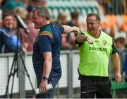 22 June 2019; Leitrim manager Terry Hyland greets Clare manager Colm Collins  ahead of the GAA Football All-Ireland Senior Championship Round 2 match between Leitrim and Clare at Avantcard Páirc Seán Mac Diarmada in Carrick-on-Shannon, Leitrim. Photo by Daire Brennan/Sportsfile