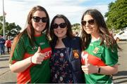 22 June 2019; Emma & Karen Cunningham and Leona Ruane from Castlebar before the GAA Football All-Ireland Senior Championship Round 2 match between Down and Mayo at Pairc Esler in Newry, Down.  Photo by Oliver McVeigh/Sportsfile