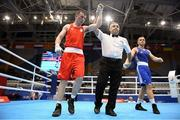 22 June 2019; Kieran Molloy of Ireland, left, is declared the winner following his Men's Welterweight preliminary round bout against Goce Janeski of Macedonia at Uruchie Sports Palace on Day 2 of the Minsk 2019 2nd European Games in Minsk, Belarus. Photo by Seb Daly/Sportsfile