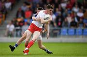 22 June 2019; Rory Brennan of Tyrone in action against Barry McKeon of Longford during the GAA Football All-Ireland Senior Championship Round 2 match between Longford and Tyrone at Glennon Brothers Pearse Park in Longford.  Photo by Eóin Noonan/Sportsfile
