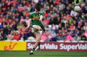 22 June 2019; Sean O'Shea of Kerry kicks a point during the Munster GAA Football Senior Championship Final match between Cork and Kerry at Páirc Ui Chaoimh in Cork.  Photo by Brendan Moran/Sportsfile