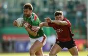 22 June 2019; Aidan O'Shea of Mayo in action against Pierce Laverty of Down during the GAA Football All-Ireland Senior Championship Round 2 match between Down and Mayo at Pairc Esler in Newry, Down.  Photo by Oliver McVeigh/Sportsfile