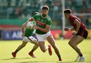 22 June 2019; Aidan O'Shea of Mayo in action against Pirce Laverty of Down during the GAA Football All-Ireland Senior Championship Round 2 match between Down and Mayo at Pairc Esler in Newry, Down.  Photo by Oliver McVeigh/Sportsfile