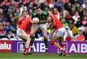 22 June 2019; David Moran of Kerry in action against Nathan Walsh and Ian Maguire of Cork during the Munster GAA Football Senior Championship Final match between Cork and Kerry at Páirc Ui Chaoimh in Cork.  Photo by Brendan Moran/Sportsfile