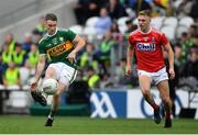 22 June 2019; Stephen O'Brien of Kerry in action against Sean White of Cork during the Munster GAA Football Senior Championship Final match between Cork and Kerry at Páirc Ui Chaoimh in Cork.  Photo by Brendan Moran/Sportsfile