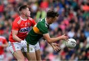 22 June 2019; David Clifford of Kerry in action against Kevin Flahive of Cork during the Munster GAA Football Senior Championship Final match between Cork and Kerry at Páirc Ui Chaoimh in Cork.  Photo by Brendan Moran/Sportsfile