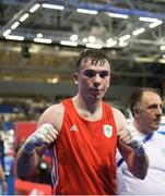 22 June 2019; Kieran Molloy of Ireland celebrates following victory during his Men's Welterweight preliminary round bout against Goce Janeski of Macedonia at Uruchie Sports Palace on Day 2 of the Minsk 2019 2nd European Games in Minsk, Belarus. Photo by Seb Daly/Sportsfile