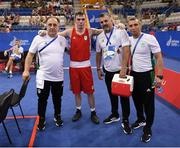 22 June 2019; Kieran Molloy of Ireland with coaching team, from left, Zaur Antia, John Conlan and Dmitry Dimitruc, following victory his Men's Welterweight preliminary round bout against Goce Janeski of Macedonia at Uruchie Sports Palace on Day 2 of the Minsk 2019 2nd European Games in Minsk, Belarus. Photo by Seb Daly/Sportsfile