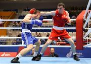 22 June 2019; Kieran Molloy of Ireland, right, in action against Goce Janeski of Macedonia during their Men's Welterweight preliminary round bout at Uruchie Sports Palace on Day 2 of the Minsk 2019 2nd European Games in Minsk, Belarus. Photo by Seb Daly/Sportsfile