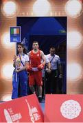 22 June 2019; Kieran Molloy of Ireland makes his way to the ring prior to his Men's Welterweight preliminary round bout against Goce Janeski of Macedonia at Uruchie Sports Palace on Day 2 of the Minsk 2019 2nd European Games in Minsk, Belarus. Photo by Seb Daly/Sportsfile