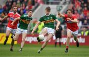 22 June 2019; Diarmuid O'Connor of Kerry in action against Liam O'Donovan of Cork during the Munster GAA Football Senior Championship Final match between Cork and Kerry at Páirc Ui Chaoimh in Cork.  Photo by Brendan Moran/Sportsfile