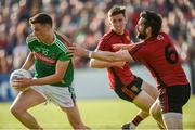 22 June 2019; Fionn McDonagh of Mayo in action against Kevin McKernan of Down  during the GAA Football All-Ireland Senior Championship Round 2 match between Down and Mayo at Pairc Esler in Newry, Down.  Photo by Oliver McVeigh/Sportsfile