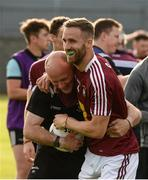 22 June 2019; Kevin Maguire of Westmeath with kitman Mike Dillon after the GAA Football All-Ireland Senior Championship Round 2 match between Westmeath and Limerick at TEG Cusack Park in Mullingar, Co. Westmeath. Photo by Diarmuid Greene/Sportsfile