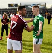 22 June 2019; Noel Mulligan of Westmeath and Pádraig De Brún of Limerick exchange a handshake after the GAA Football All-Ireland Senior Championship Round 2 match between Westmeath and Limerick at TEG Cusack Park in Mullingar, Co. Westmeath. Photo by Diarmuid Greene/Sportsfile