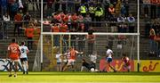 22 June 2019; Rian O'Neill, 14, of Armagh shoots to score a second half goal  during the GAA Football All-Ireland Senior Championship Round 2 match between Monaghan and Armagh at St Tiarnach's Park in Clones, Monaghan.  Photo by Ray McManus/Sportsfile
