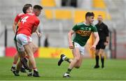 22 June 2019; Kevin Flahive of Cork and Paul Geaney of Kerry clash resulting in a sending off for Paul Geaney during the Munster GAA Football Senior Championship Final match between Cork and Kerry at Páirc Ui Chaoimh in Cork.  Photo by Brendan Moran/Sportsfile