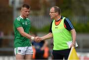 22 June 2019; Limerick manager Billy Lee exchanges a handshake with his son, Jamie Lee, as he is substituted during the GAA Football All-Ireland Senior Championship Round 2 match between Westmeath and Limerick at TEG Cusack Park in Mullingar, Co. Westmeath. Photo by Diarmuid Greene/Sportsfile