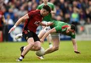 22 June 2019; Donal O'Hare of Down in action against  Keith Higgins of Mayo during the GAA Football All-Ireland Senior Championship Round 2 match between Down and Mayo at Pairc Esler in Newry, Down.  Photo by Oliver McVeigh/Sportsfile