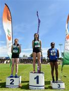 22 June 2019; Girls triple jump medallists from left, Ellen McNally of Holy Child Killiney, Co. Dublin, silver, Aisling McHugh of St Mary's Naas, Co. Kildare, gold, Chisom Ugwueru of St. Flannan's College, Co. Clare, bronze, during the Irish Life Health Tailteann Inter-provincial Games at Santry in Dublin. Photo by Sam Barnes/Sportsfile