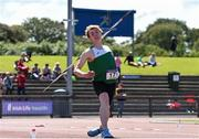 22 June 2019; Tadgh O'Muircheartaigh of Maynooth PP, Co. Kildare, competing in the Boys Javelin event during the Irish Life Health Tailteann Inter-provincial Games at Santry in Dublin. Photo by Sam Barnes/Sportsfile