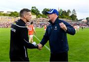 22 June 2019; Monaghan manager Malachy O'Rourke  shake hands with the Armagh manager Kieran McGeeney  afterthe GAA Football All-Ireland Senior Championship Round 2 match between Monaghan and Armagh at St Tiarnach's Park in Clones, Monaghan.  Photo by Ray McManus/Sportsfile