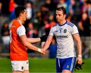22 June 2019; Aaron Forker of Armagh and  Conor Boyle of Monaghan great each other after the GAA Football All-Ireland Senior Championship Round 2 match between Monaghan and Armagh at St Tiarnach's Park in Clones, Monaghan.  Photo by Ray McManus/Sportsfile
