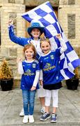 23 June 2019; Cavan supporters, from left, Mickey Graham Cavan managers daughter, Lauren Graham, age 5, Grace Loghnane, age 10, with Caoimhe Mulhall, age 6 from Cavan Town, Co. Cavan prior to the Ulster GAA Football Senior Championship Final match between Donegal and Cavan at St Tiernach's Park in Clones, Monaghan. Photo by Sam Barnes/Sportsfile