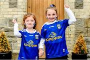 23 June 2019; Cavan supporters, Cavan manager Mickey Graham's daugher, Lauren Graham, age 5, left, with Caoimhe Mulhall, age 6 from Cavan Town, Co. Cavan prior to the Ulster GAA Football Senior Championship Final match between Donegal and Cavan at St Tiernach's Park in Clones, Monaghan. Photo by Sam Barnes/Sportsfile